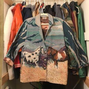 VINTAGE Woven Horse Coat with Hidden Pockets